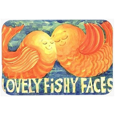 Caroline's Treasures Fish Kissing Fish Kitchen/Bath Mat; 24'' H x 36'' W x 0.25'' D