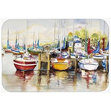 Caroline's Treasures Paradise Yacht Club Ii Sailboats Kitchen/Bath Mat; 20'' H x 30'' W x 0.25'' D