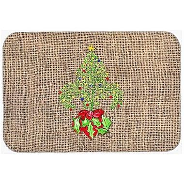 Caroline's Treasures Christmas Tree Fleur De Lis Kitchen/Bath Mat; 20'' H x 30'' W x 0.25'' D