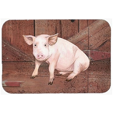 Caroline's Treasures Pig At The Barn Door Kitchen/Bath Mat; 24'' H x 36'' W x 0.25'' D