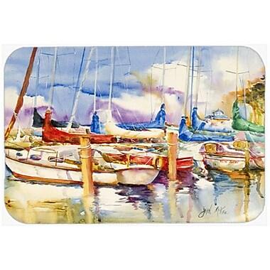 Caroline's Treasures End Stall Sailboats Kitchen/Bath Mat; 20'' H x 30'' W x 0.25'' D