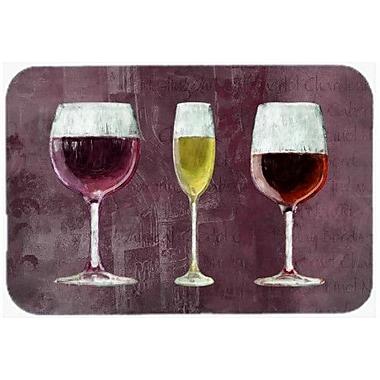 Caroline's Treasures Three Glasses Of Wine Purple Kitchen/Bath Mat; 24'' H x 36'' W x 0.25'' D