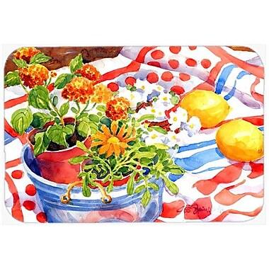 Caroline's Treasures Flowers w/ a Side Of Lemons Kitchen/Bath Mat; 20'' H x 30'' W x 0.25'' D