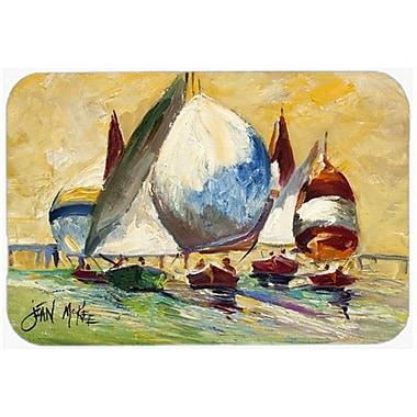 Caroline's Treasures Bimini Sails Sailboat Kitchen/Bath Mat; 24'' H x 36'' W x 0.25'' D