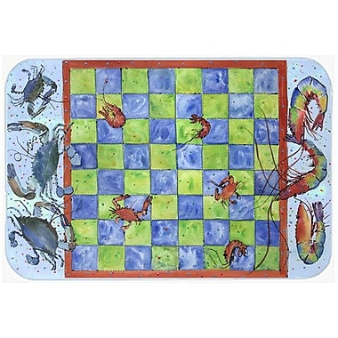 Caroline's Treasures Crab and Shrimp Checkerboard Kitchen/Bath Mat; 20'' H x 30'' W x 0.25'' D