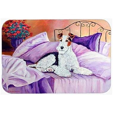 Caroline's Treasures Fox Terrier Waiting on Mom Kitchen/Bath Mat; 24'' H x 36'' W x 0.25'' D