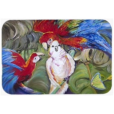 Caroline's Treasures Menage-a-Trois Parrots Kitchen/Bath Mat; 24'' H x 36'' W x 0.25'' D