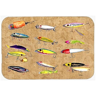 Caroline's Treasures Fishing Lures Kitchen/Bath Mat; 20'' H x 30'' W x 0.25'' D