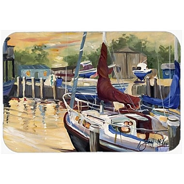 Caroline's Treasures New Sunset Bay Sailboat Kitchen/Bath Mat; 20'' H x 30'' W x 0.25'' D