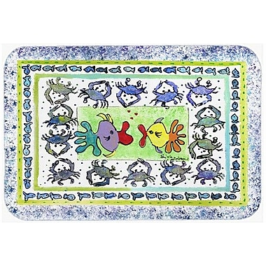 Caroline's Treasures Fish Kissing Fish Kitchen/Bath Mat; 24'' H x 36'' W x 0.25'' D