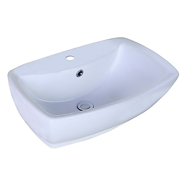 American Imaginations Above Counter Square Vessel Bathroom Sink w/ Overflow