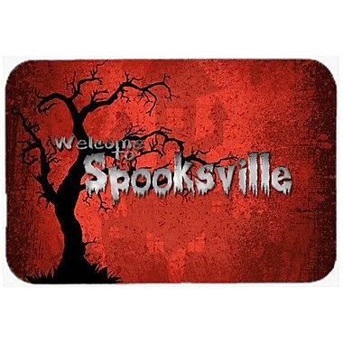 Caroline's Treasures Welcome To Spooksville Halloween Kitchen/Bath Mat; 20'' H x 30'' W x 0.25'' D