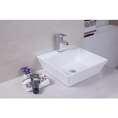 American Imaginations Ceramic Square Vessel Bathroom Sink
