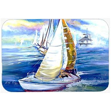 Caroline's Treasures Rock My Boat Sailboats Kitchen/Bath Mat; 20'' H x 30'' W x 0.25'' D