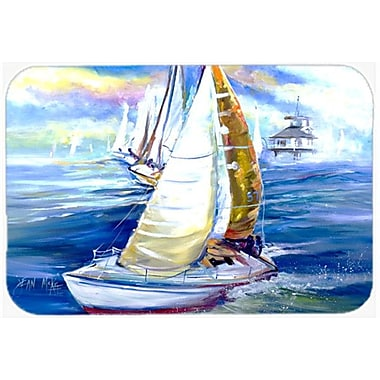 Caroline's Treasures Rock My Boat Sailboats Kitchen/Bath Mat; 24'' H x 36'' W x 0.25'' D