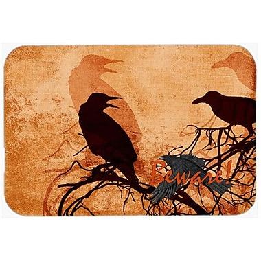 Caroline's Treasures Beware Of The Crows Halloween Kitchen/Bath Mat; 24'' H x 36'' W x 0.25'' D