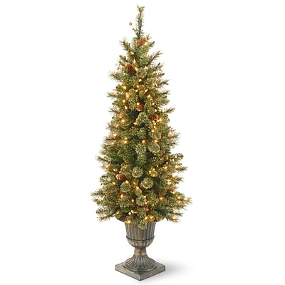 4' Green Pine Artificial Christmas Tree w/ 100 Incandescent Colored and Clear Lights w/ Stand