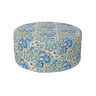 Creative Living Outdoor Pouf Ottoman; Blue Floral
