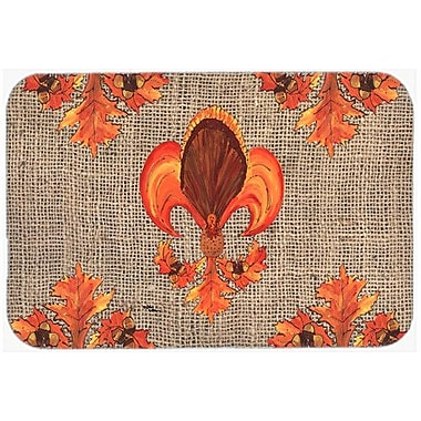 Caroline's Treasures Thanksgiving Turkey Fleur De Lis Kitchen/Bath Mat; 20'' H x 30'' W x 0.25'' D