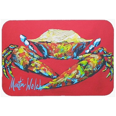 Caroline's Treasures Crab Seafood One Kitchen/Bath Mat; 20'' H x 30'' W x 0.25'' D