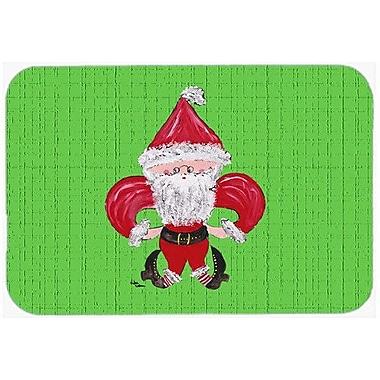Caroline's Treasures Christmas Fleur De Lis Santa Claus Kitchen/Bath Mat; 24'' H x 36'' W x 0.25'' D