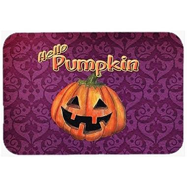 Caroline's Treasures Hello Pumpkin Halloween Kitchen/Bath Mat; 20'' H x 30'' W x 0.25'' D