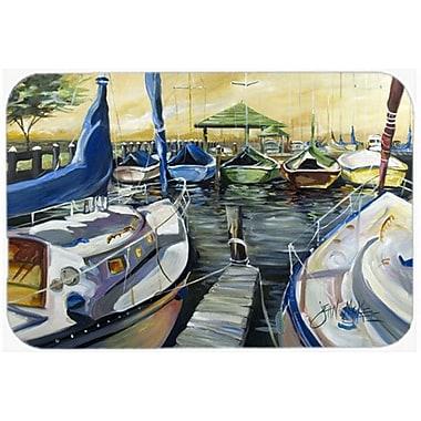 Caroline's Treasures Seven Boats Sailboats Kitchen/Bath Mat; 20'' H x 30'' W x 0.25'' D