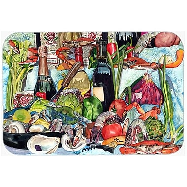Caroline's Treasures Wine Crab Shrimp and Oyesters Kitchen/Bath Mat; 20'' H x 30'' W x 0.25'' D