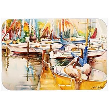 Caroline's Treasures Sailboat w/ Pelican Golden Days Kitchen/Bath Mat; 20'' H x 30'' W x 0.25'' D