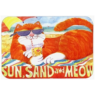 Caroline's Treasures Orange Tabby At The Beach Kitchen/Bath Mat; 24'' H x 36'' W x 0.25'' D