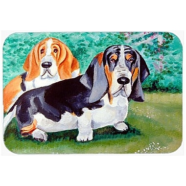 Caroline's Treasures Basset Hound Double Trouble Kitchen/Bath Mat; 20'' H x 30'' W x 0.25'' D