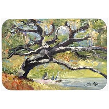 Caroline's Treasures Oak Tree on The Bay w/ Sailboats Kitchen/Bath Mat; 20'' H x 30'' W x 0.25'' D