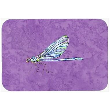 Caroline's Treasures Dragonfly on Purple Kitchen/Bath Mat; 24'' H x 36'' W x 0.25'' D