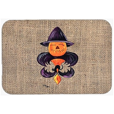 Caroline's Treasures Halloween Pumpkin Bat Fleur De Lis Kitchen/Bath Mat; 20'' H x 30'' W x 0.25'' D
