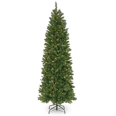 National Tree Co. 7.5' Green Fir Artificial Christmas Tree w/ 350 Incandescent Clear Lights w/ Stand