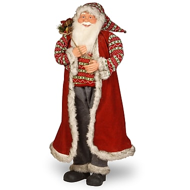 National Tree Co. Fabric D cor Standing Santa Christmas Decoration
