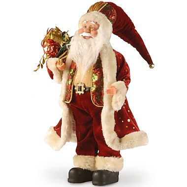 National Tree Co. Fabric D cor Standing Santa Christmas Decoration