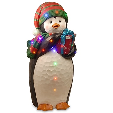 National Tree Co. Penguin Holding Gift Christmas Decoration