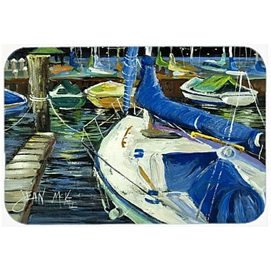 Caroline's Treasures Night on The Docks Sailboat Kitchen/Bath Mat; 24'' H x 36'' W x 0.25'' D