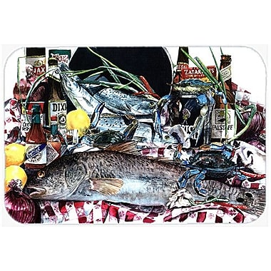Caroline's Treasures Fish and Beers from New Orleans Kitchen/Bath Mat; 20'' H x 30'' W x 0.25'' D