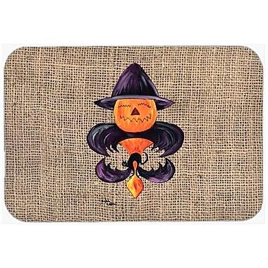 Caroline's Treasures Halloween Pumpkin Bat Fleur De Lis Kitchen/Bath Mat; 24'' H x 36'' W x 0.25'' D