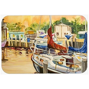 Caroline's Treasures Sunset Bay Sailboat Kitchen/Bath Mat; 24'' H x 36'' W x 0.25'' D