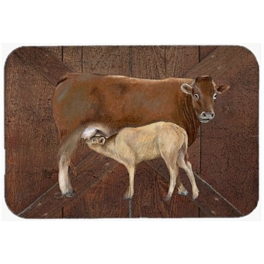 Caroline's Treasures Cow Momma and Baby Kitchen/Bath Mat; 24'' H x 36'' W x 0.25'' D