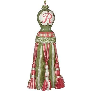 123 Creations 0.8in Initial Tassel, Green and Pink (create183)