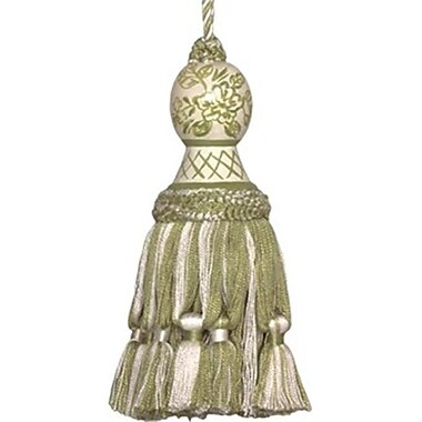 123 Creations Hand Painted Tassel, 5.5in, Provencal Green and Toile (create642)