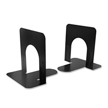 Charles Leonard Co. Bookends, Set of 2, Nonskid, 5in, Steel, Black (SPRCH10227)