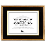 "Dax 11"" x 14"" Hardwood Document/Certificate Frame with Mat, Antiqued Gold Leaf (AZRDAX1511T)"