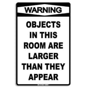 """Seaweed Surf Co Objects In This Room Aluminum Sign, 12""""W x 18""""H (SURF228)"""