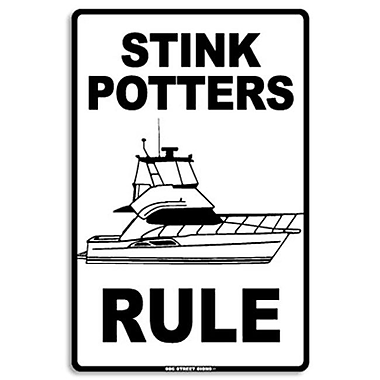 Seaweed Surf Co AA7 12X18 Aluminum Sign Stink Potters Rule