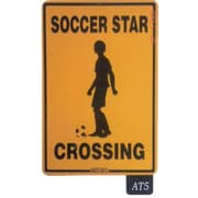 """Seaweed Surf Co 12"""" x 18"""" Aluminum Sign """"Soccer Star Crossing"""" (SURF161)"""